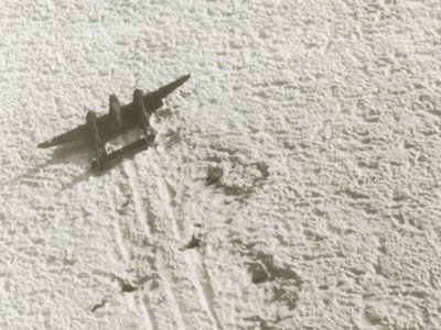 """In July 1942, the """"Lost Squadron,"""" a unit consisting of two B-17 bomber planes and six P-38 fighters, landed on a remote Greenlandic glacier"""