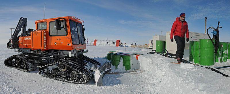 Barrels of fuel encased in snow at the Lake Ellsworth drilling site.