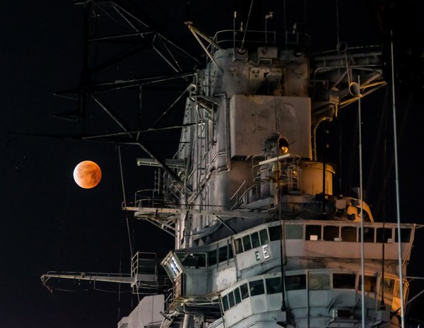 U.S.S. Hornet with Super Blood Moon  thumbnail