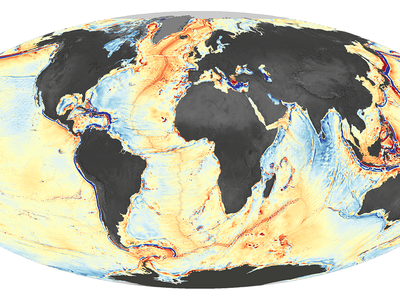 A map of gravity variations on the Earth's seafloor, which mostly correspond to underwater ridges and the edges of Earth's tectonic plates.