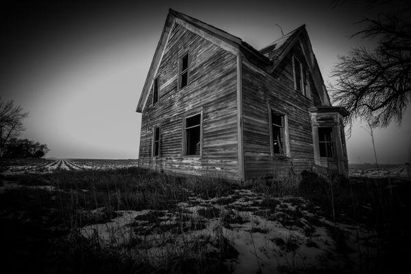 B&W of Lonely  Prairie  Farm House  on the  Nebraska Plains. thumbnail
