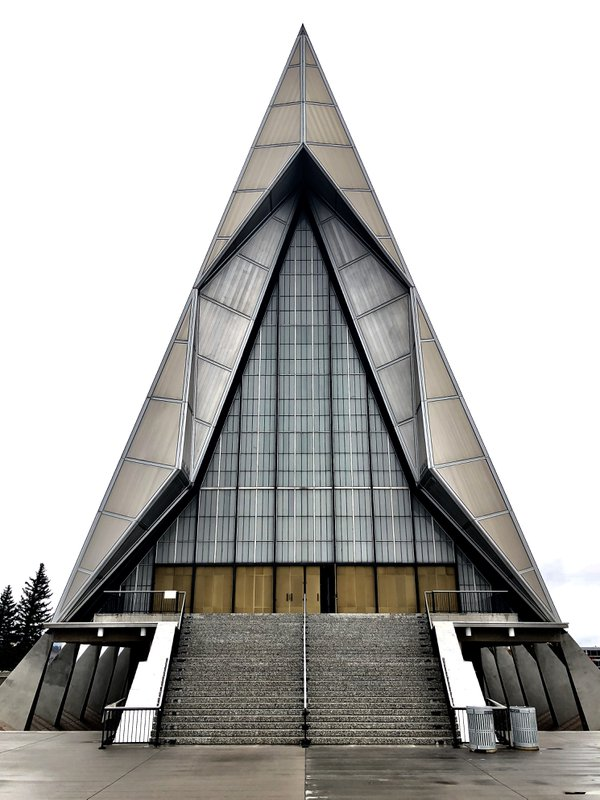 a front view of the US Air Force Academy Chapel thumbnail