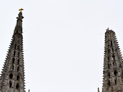 The top of Zagreb Cathedral's southern spire toppled during Sunday's earthquake.
