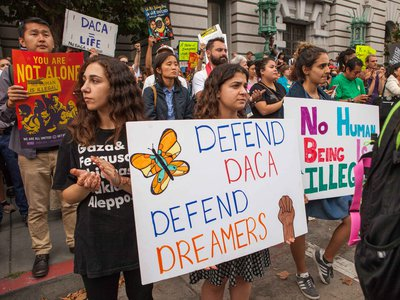 """""""New Paths to Change: Undocumented Immigrant Activism, 2000 to the Present"""" is an curatorial effort to collect the stories community organizers across the nation (above: a 2017 immigration rally in San Francisco)."""