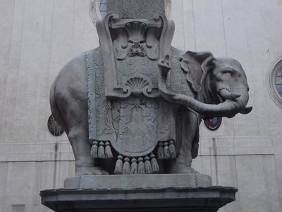 """A closeup of Bernini's """"The Elephant and the Obelisk"""" before it was damaged."""