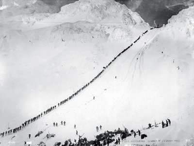 Deadly perils awaited prospectors who flocked to the Yukon. In April 1898, on a single day, 65 men on the Chilkoot Trail died in an avalanche. Typhoid also took its toll.