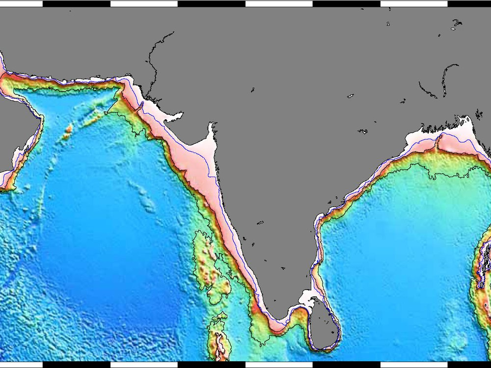 A map showing the sea floor off the coast of Pakistan*