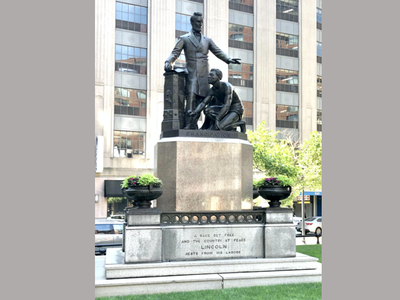 The sculpture has stood in Boston's Park Square since 1879.