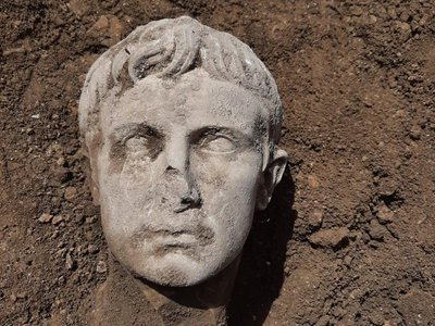 A view of the marble head discovered last week in Isernia, a town in south-central Italy
