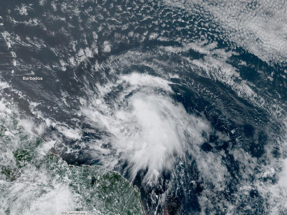 Hurricane Elsa before downgrading to a tropical storm near Barbados