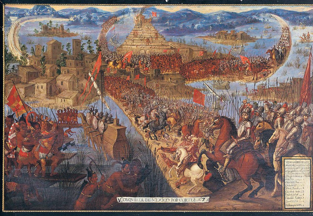 A painting depicts the fall of Tenochtitlán in 1521