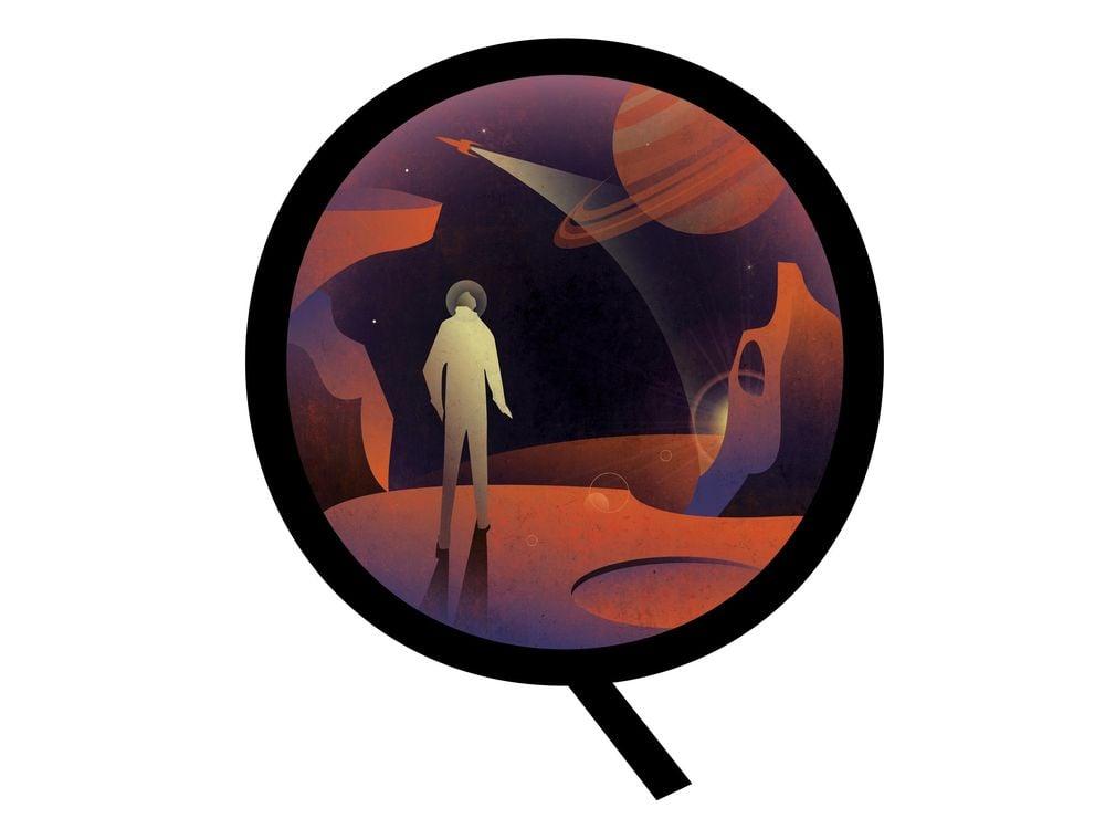 Illustration of humans on Venus