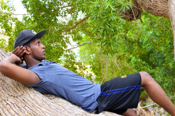 A young man laying down on a tree branch looking at the leaves  thumbnail