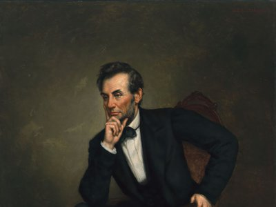 """George Peter Alexander Healy, Abraham Lincoln, 1887. Oil on canvas. Dimensions: 188 × 137cm (74 × 53 15/16""""). National Portrait Gallery, Smithsonian Institution; transfer from the National Gallery of Art; gift of the A.W. Mellon Educational and Charitable Trust, 1942. This portrait is on view at the National Portrait Gallery, South Gallery 240."""