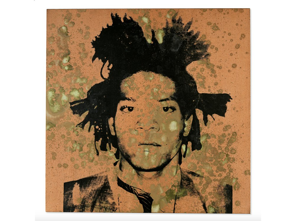 A black and white image of Basquiat, a young Black man with spiky hair and a serious expression, on an orangey background and covered in splotches of yellow-green