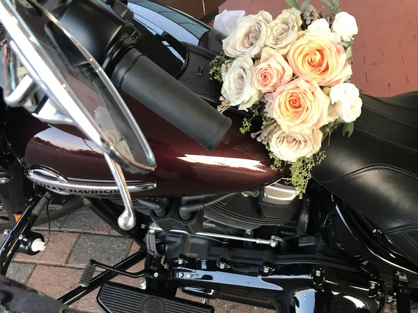 My bridal bouquet on my Harley at my wedding thumbnail