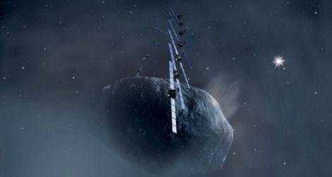 Rosetta eyeing the comet Churyumov-Gerasimenko