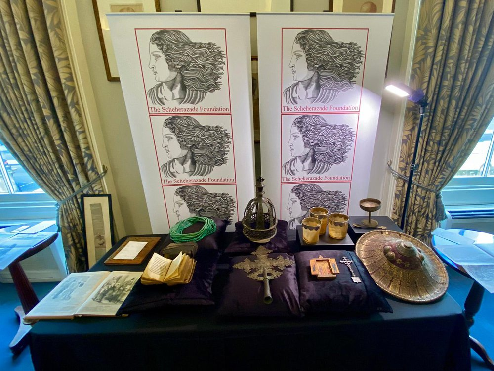 Table holding artifacts returned to Ethiopia