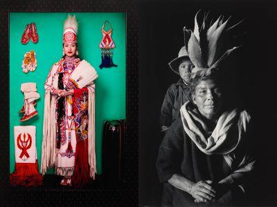 Left: Cara Romero, Wakeah, 2018, and right: Flor Garduño, Reina (Queen), 1989