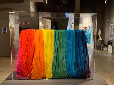 Queer artist Gilbert Baker preserved this 10- by 28-foot section of an original 1978 pride flag.