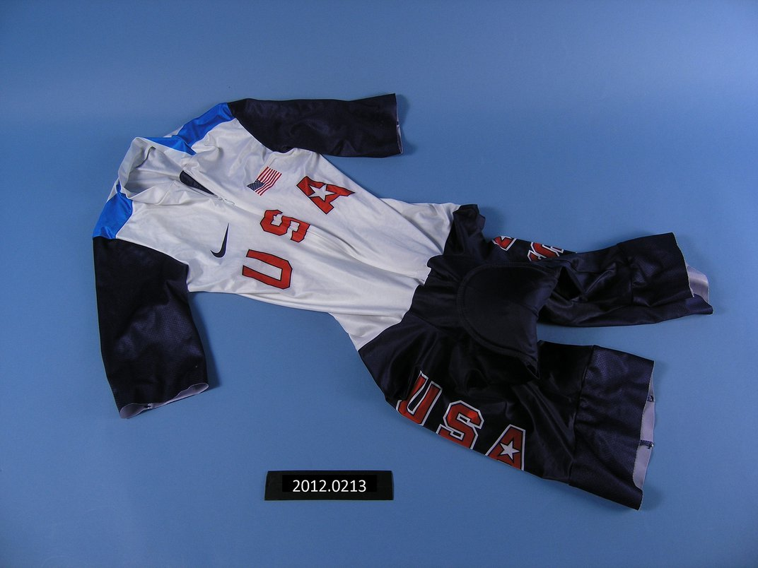 Red, white, and blue USA cycling uniform