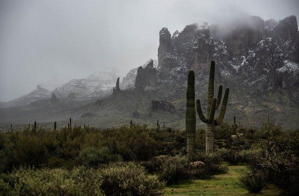 Snow Covers the Superstition Mountain Tops thumbnail