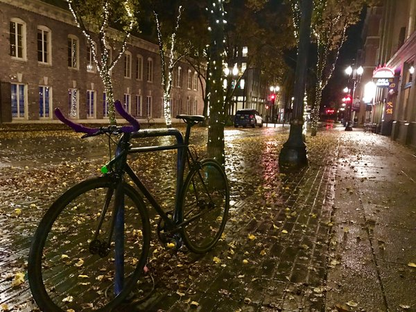 A bike on a rainy night in Portland thumbnail