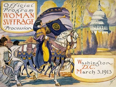 The program for the National American Woman Suffrage Association procession in the capital city. This march occurred before the rift between the more moderate NAWSA and the less conciliatory National Woman's Party.