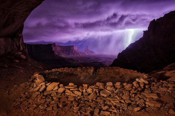 I hiked out to this kiva in Utah planning on photographing it in the night, but a huge thunderstorm came through and I was able to capture this image of the lightning striking in the distance. thumbnail