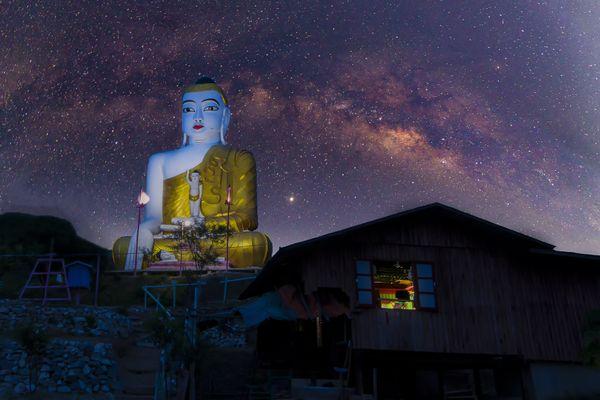 Buddha Image with Galaxy. thumbnail