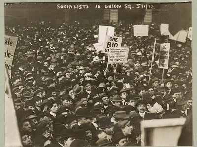 Socialists gather in New York City, but the crowd is conspicuously male-dominated considering the party's official stance on women's rights.