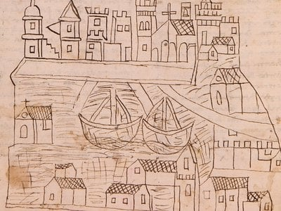This illustration of Venice accompanied a manuscript of one friar's journey from Venice to Egypt and Jerusalem.