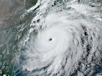 Hurricane Laura as it approached the Gulf Coast on August 26, 2020