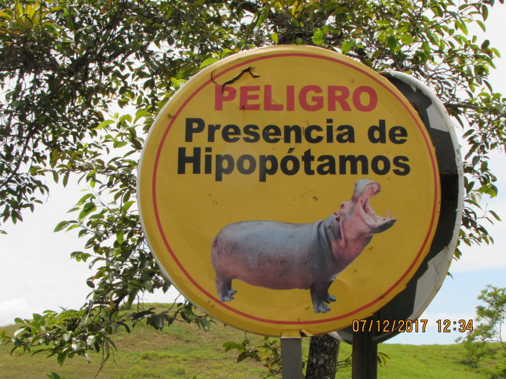 Sign warning tourists about hippos