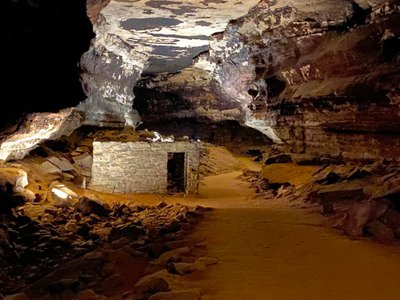 The vestiges of two limestone tuberculosis huts can still be seen in Mammoth Cave.