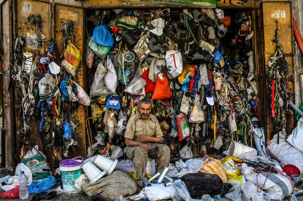 A #Palestinian Abu Naim Al Nashet ,75, Sitting in front of old a scrap #shop in #Gaza City on July 13, 2019. thumbnail