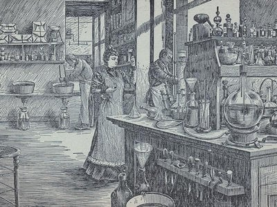 Depictions of Madame Yale often suggested that she had a hand in crafting her concoctions.