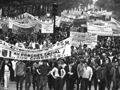 Trade union workers participate in a mass demonstration at the Place de la Republique, Paris, May. 24, 1968
