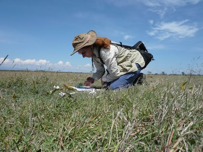 A person using a notebook while kneeling in grass on a sunny day in Kenya.