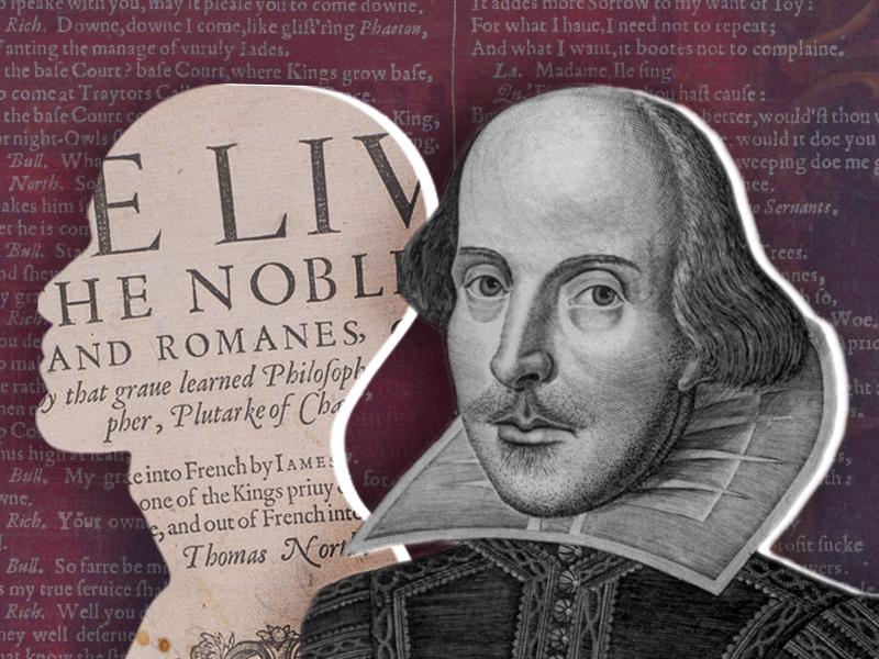 Illustration of Shakespeare and anonymous silhouette
