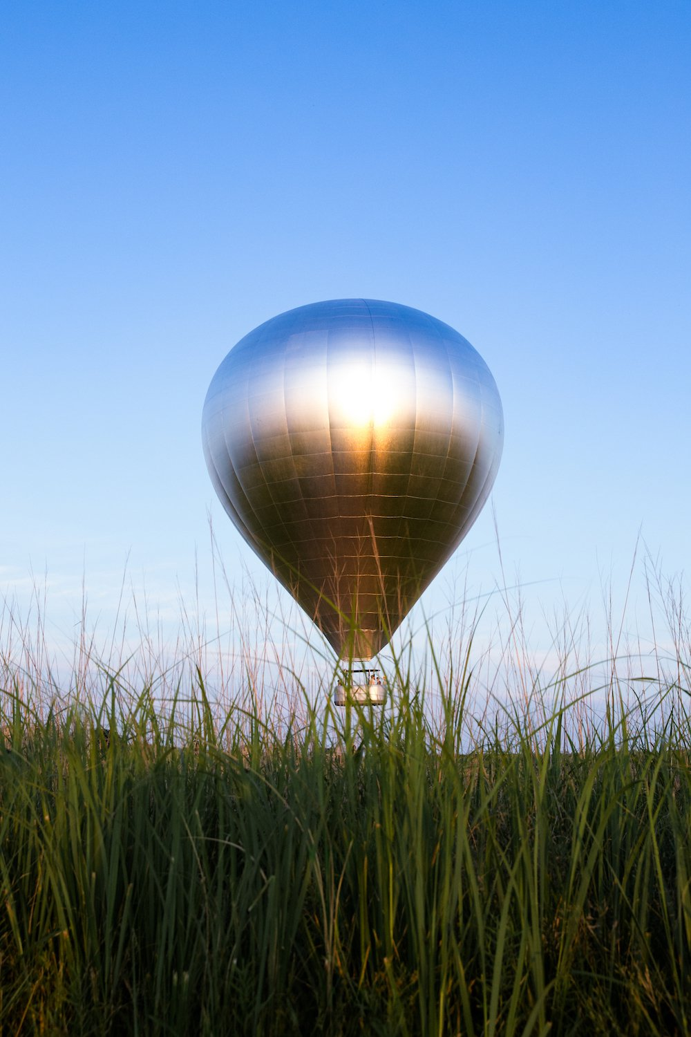 A Giant, Mirrored Hot Air Balloon Is Currently Traveling Over Massachusetts