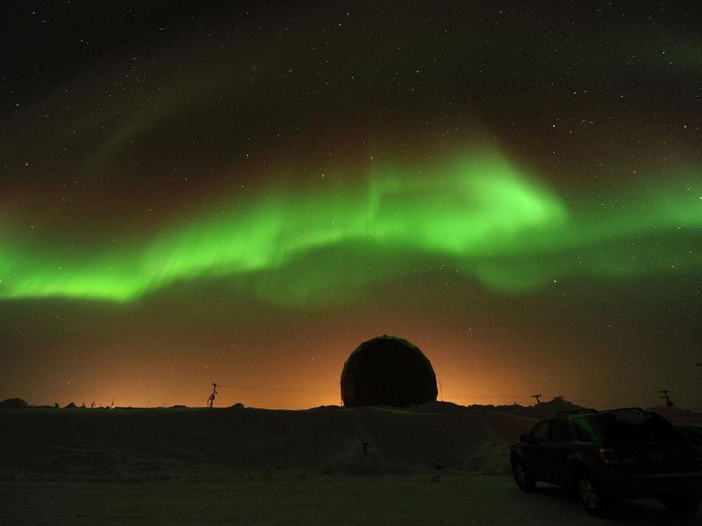 A naturally occurring aurora in Alaska.