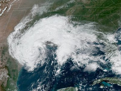 Tropical Storm Beta reached the coast of Texas on Monday night.