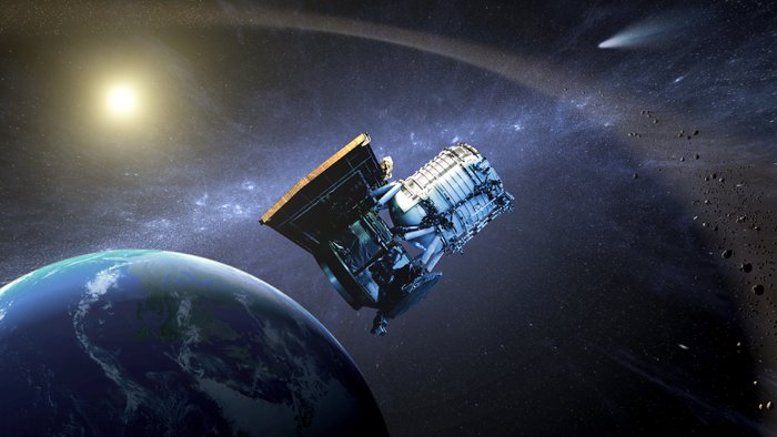 An artist's rendition of the Wide-field Infrared Survey Explorer