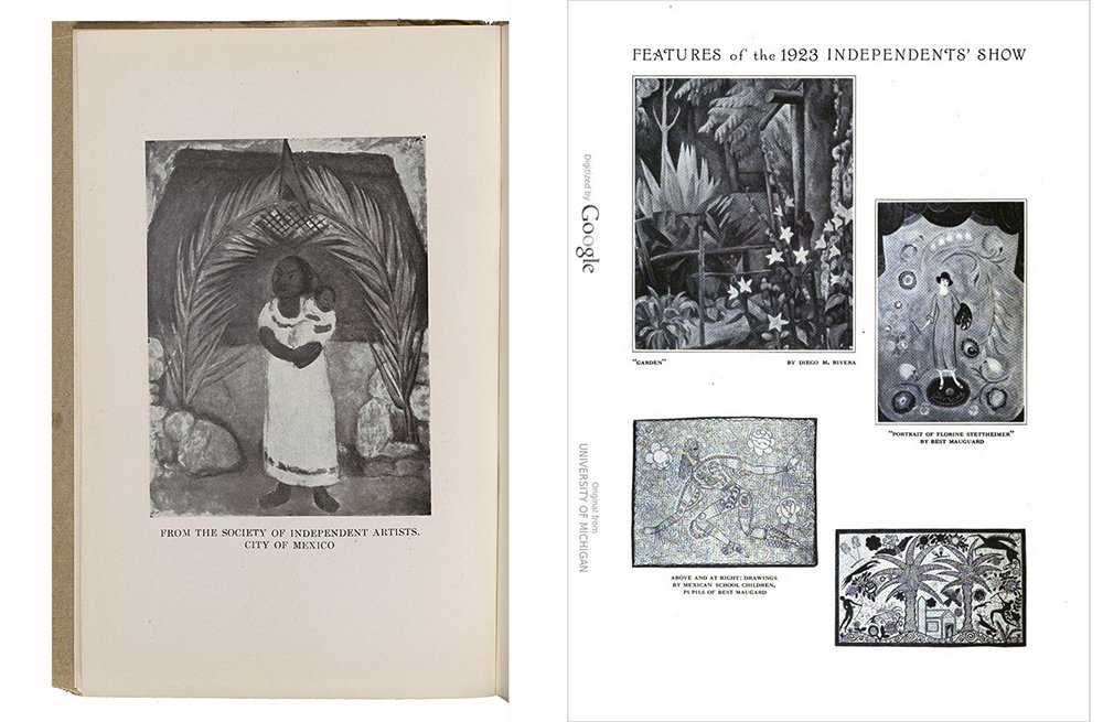 Page from the 1923 Society of Indpendent Artists catalog featuring a painting by Diego Rivera and a page from International Studio magazine featruing images from the SIA exhibition.