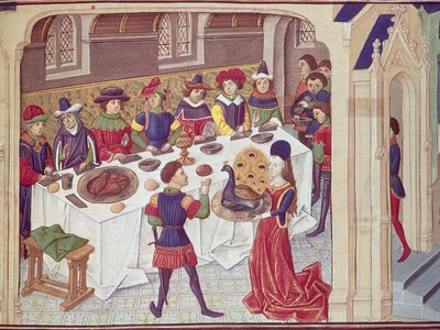 Mid 15th-century diners sit down to an elaborate meal in this illustration from an anonymous artist.