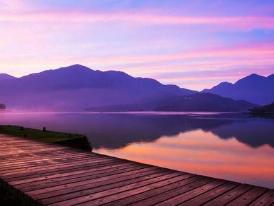 Sun Moon Lake at sunset.