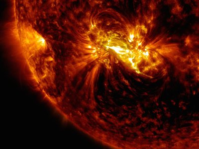 A mid-level solar flare captured by NASA's Solar Dynamics Observatory in 2017.
