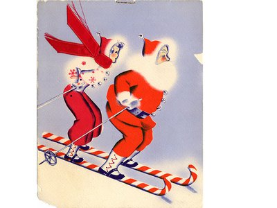 Mid-century Santa and Mrs. Claus on candy canes skis.