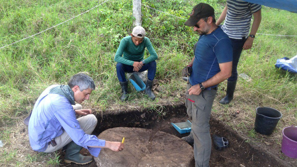 Researchers excavate an altar